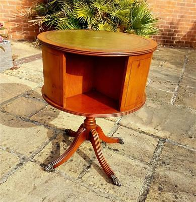 Revolving Leather  Top Yew Bookcase (Various Pick Up Points)