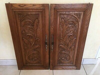 Pair of Antique French Carved Wood Architectural Panel Door w/ griffin chimera