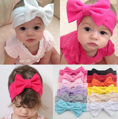 Toddler Girls Kids Baby Big Bow Hairbands Headband Stretch Turban Knot Head  HGU