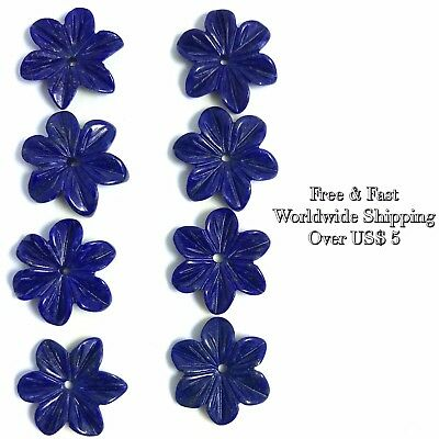2 PC Natural Lapis Carved Flower 15mm A - Wholesale New DIY Design Bead Rare