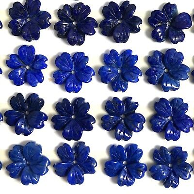 2 PC Natural Lapis Carved Flower 12mm A- - New DIY Bead for Design Wholesale