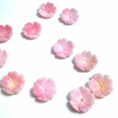 2 PC Natural Pink Queen Conch Carved Flower 10mm - NEW DIY Bead Design Wholesale