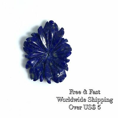 1 PC Natural Lapis Carved Freeform Flower A - Wholesale Rare New DIY Bead