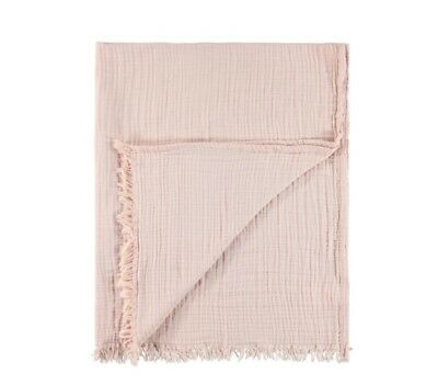 Gorgeous Blush Pink Cotton Throw for couch or bed Vegan Perfect for Spring