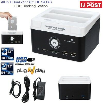 "Dual 2.5"" 3.5"" SATA IDE HDD Docking Station Hard Disk Drive OTB Card Reader AU"