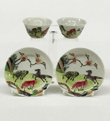 2 small cups and saucers, 18th Century Chinese Famille Rose porcelain