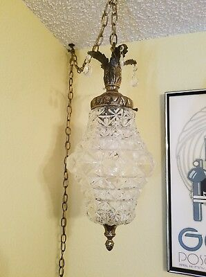 Vintage 1960s Hollywood Regency Mid Centry Modern Ice Crystal Glass Swag Lamp
