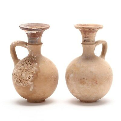 Authentic Pair of Cypro-Geometric Creme Ware Pottery Flasks 1000-750 B.C.