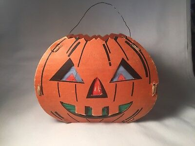 Vintage 1940'S Cardboard Pumpkin With Battery Operated Light