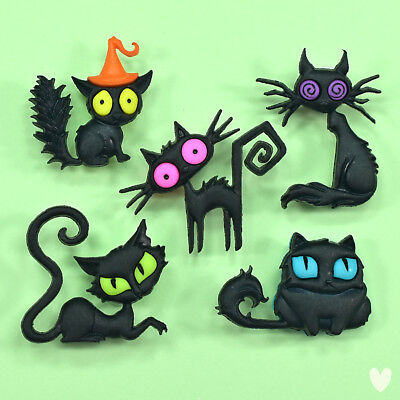 Dress It Up Buttons Creeped Out Cats 9486 - Halloween Witches Black Cat