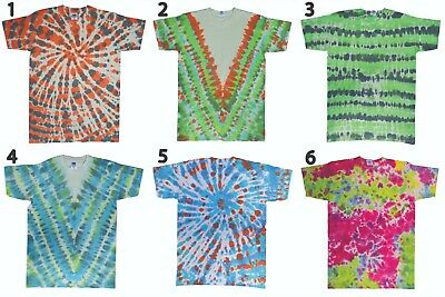 Mens Womens Unisex Hand Dyed TIE DYE 100% COTTON 60s hippy T-shirt tee top