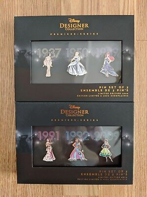 Disney Designer Princess Pin Collection Set Of 6 Limited Edition