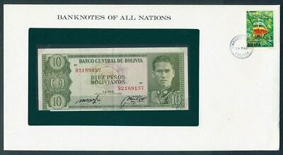 Bolivia: 1962 10 Pesos Banknote & Stamp Cover, Banknotes Of All Nations Series