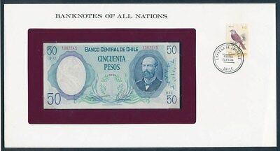 Chile: 1981 50 Pesos Banknote & Stamp Cover, Banknotes Of All Nations Series