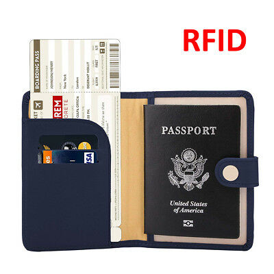Travel RFID Leather Passport Organizer Holder Card Case Protector Cover Wallet