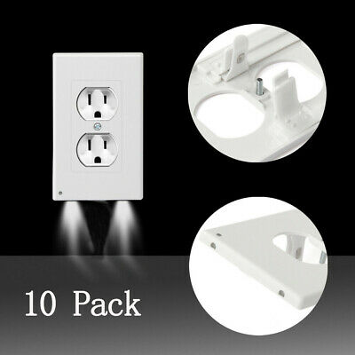 USA 10 Pcs Duplex Night Angel Light Sensor LED Plug Cover Wall Outlet Coverplate