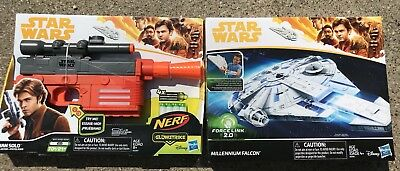 Nerf Han Solo Story Blaster + Hasbro Star Wars Force Link 2.0 Millennium Falcon
