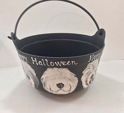 Old English sheepdog HAND PAINTED Halloween caldron