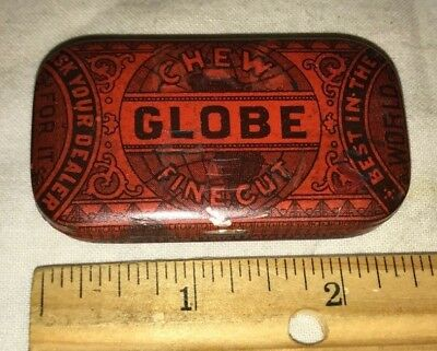 Antique Small Flat Pocket Tobacco Tin Litho Chewing Can Vintage Detroit Mi Old