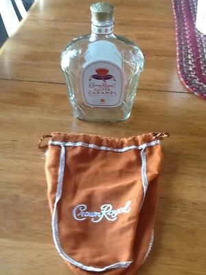 Crown Royal Salted Caramel Bottle & Bag Empty Limited Edition Collectible!