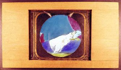 c1880 DREAMS OF INNOCENCE? Young Girl Abed Hand Painted Wood Mount Lantern Slide