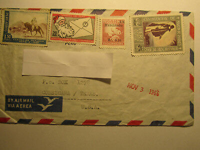 Brief Mail Stamps alt Briefmarken Peru/ Lima nach Texas / US / Airmail via Aerea
