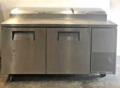 "True TPP-67 Pizza 67"" Prep Table Refrigerator Cooler Station Nice working unit!"