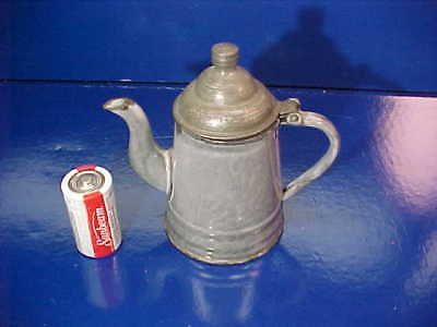 Early 20thc GRAY Agate GRANITEWARE Child Size COFFEE POT