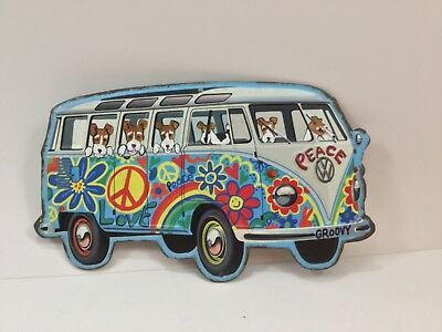 Hand painted wire fox terrier  metal sign Hippie Bus