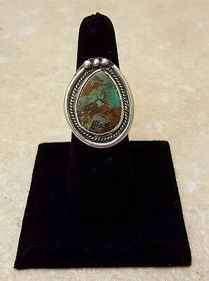 Nice Size 8 Old Vintage Silver Green Turquoise Native American Indian Ring