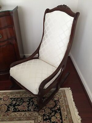 antique rocking chair early 1900's mahogony newly ulpholstered cream fabric