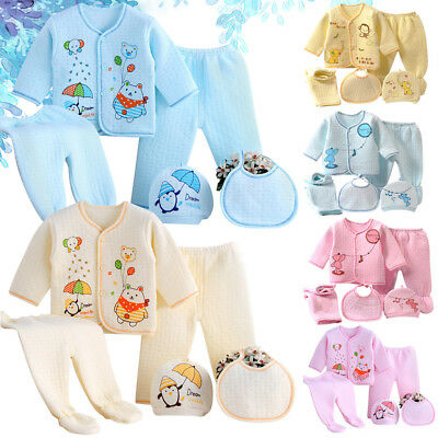 025e86cf93fa 5 PIECES NEWBORN Baby Boys Girls Clothes Sets Unisex Infant Outfits ...