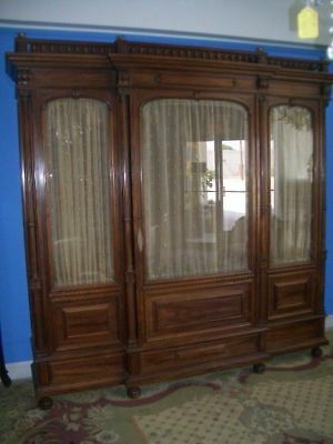 Superb Antique French Rosewood Display Cabinet or Bookcase Three Glass doors