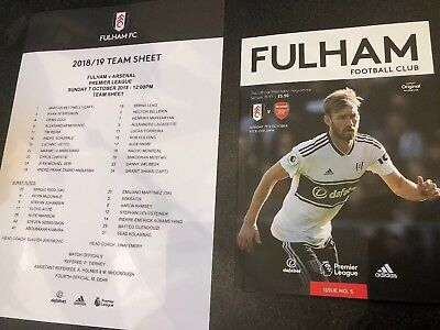 Fulham FC V Arsenal Match Day Programme 2018/19  7th October