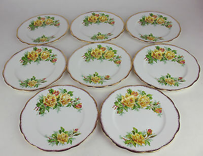 "Set x 8 Dessert Side Plates 7 1/8"" Royal Albert Yellow Tea Rose vintage"