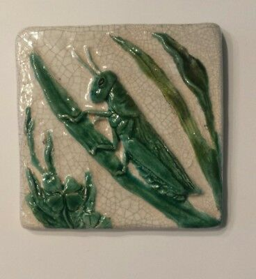 Newcomb College Pottery Tile Grasshopper 4 1/4""