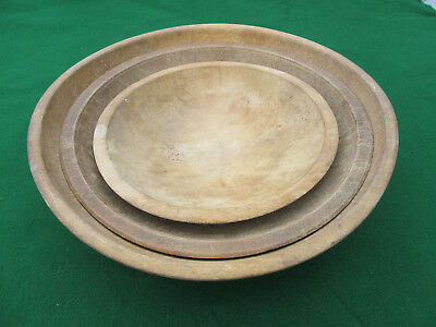 """3 Antique Wooden Bowls 9"""" 11 1/2"""" & 13"""" Diameters Country Kitchen Nice!"""