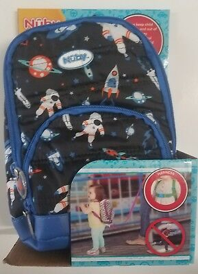 Nuby Quilted Harness Backpack Space Themed 18 Month And Up