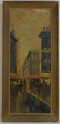 "Vintage Oil Painting on Board Cityscape Framed Art Decor (34"" x 16"")"