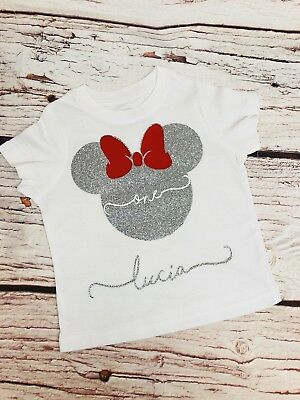 Personalised Glitter Minnie Mouse Tshirt Any Name Birthday Age Childrens Girls