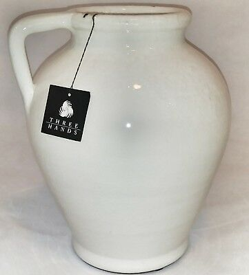 Large White Ceramic Vase With Handle By Three Hands Corp 375