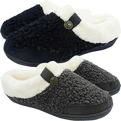 Womens Ladies Fur Lined Slip On Winter Warm Slippers Shoes Size New Hard Sole