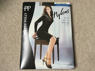 7be8a1dc9 Pretty Polly Nylons Glos s Lace Top Hold UPS 10 Denier Size 2 Barley Black  NEW
