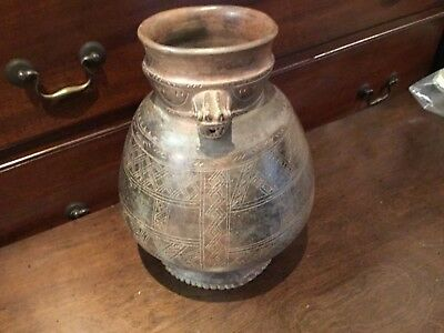 Authentic Pre Columbian Etched Figural Pottery Pot Must See No Reserve
