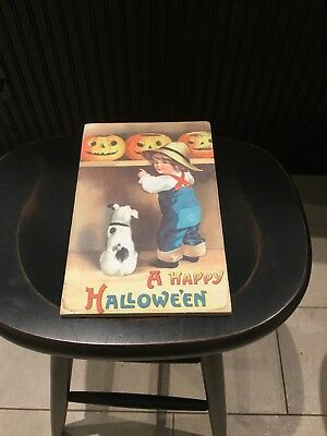 New Vintage Style Wooden Halloween  Sign Girl & Dog / Pumpkins Very Cute!