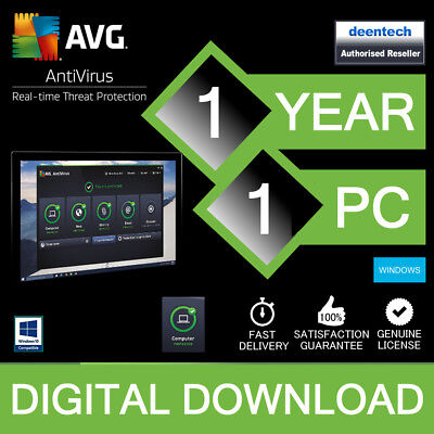 AVG AntiVirus 2019 (1PC) Internet Security Genuine Authentic License Windows