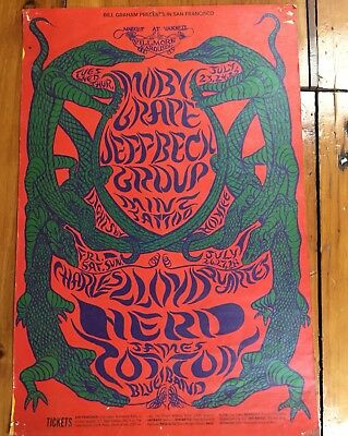 1968 Moby Grape Jeff Beck Psychedelic Concert Poster BG 130 Gators