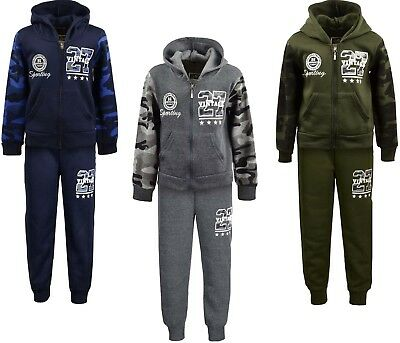 Boys Tracksuits Jogging Suits Camouflage Hoodie Jacket and Joggers Ages 2-12 Yrs