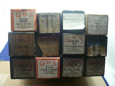 Nice Lot of 12 Old Assorted Piano Rolls