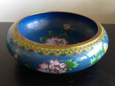 Fine Old Chinese Blue Cloisonne Brush Washer Flowers Butterfly Large Ruyi Gilt